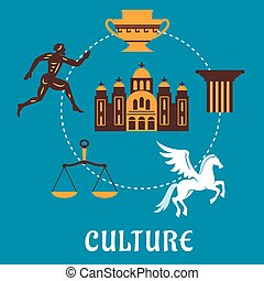 Culture Greece concept with flatl icons