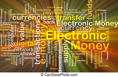 Electronic money background concept glowing