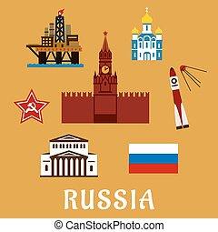 Russian flat travel icons and symbols