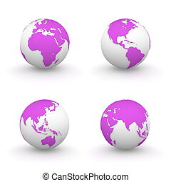 3D Globes in Pink/Purple