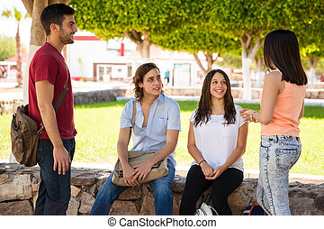 College students hanging out