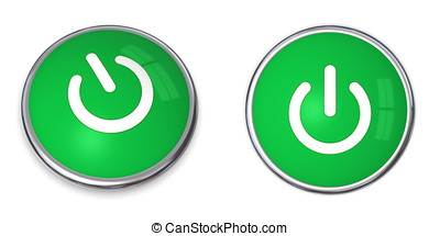 Green Power Button - chrome bordered button with green...