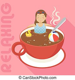 woman in red cup of hot coffee with long shadow