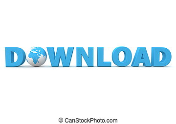 World Download I - blue word Download with 3D globe...