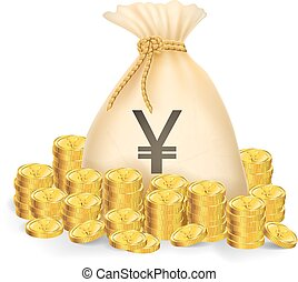 Gold coin with bag - Illustration of gold coin with bag of...