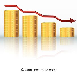 Financial concept, declining graph - Illustration of...