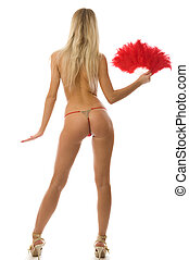 Blonde in red lingerie - Picture of fit blonde in red...