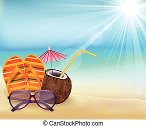 Summer beach, sandals colorful flip- flops, young coconut...