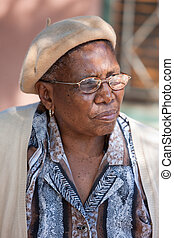 african granny - old african granny with glasses, outdoor...