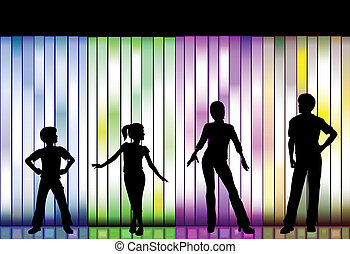 Family Fashion Show on colorful Background - People in a...