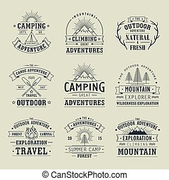 wilderness and nature exploration emblems - set of...