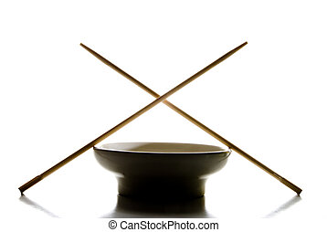 Asian Cuisine Silhouette - A silhouete of a bowl and chop...