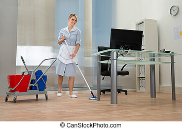 Maid With Mop In Office