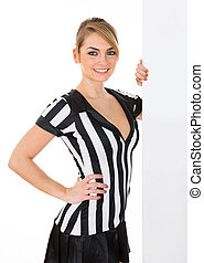 Female Referee With Billboard