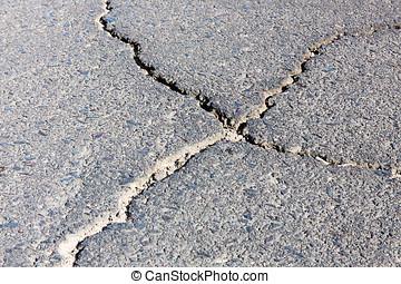 Gravel road with cracks.