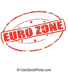 Euro zone - Rubber stamp with text Euro zone inside, vector...