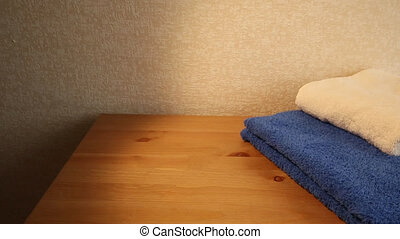Blue and white towels - Sliding view of blue and white...