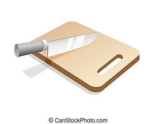 Schneidebrett clipart  Vektor Illustration von schneidenden holz, chefs, brett, messer ...