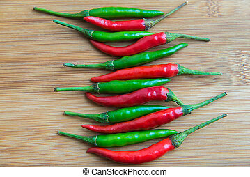Green chilli pepper and Red chilli pepper on center of...
