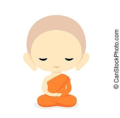Buddhist Monk Character Design-Vector Illustration