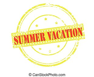 Summer vacation - Rubber stamp with text summer vacation...