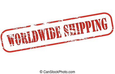 Worldwide shipping - Rubber stamp with text worldwide...