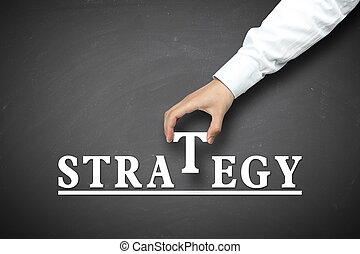 Hand holding strategy concept - Strategy concept with...