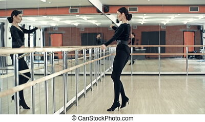 Warm-Up Activity - Side view of stunning lady moving...
