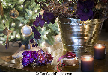 Sparkling Chritsmas decorations on wooden table - Candles,...