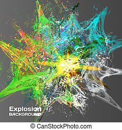 Abstract background of explosion of colored inks