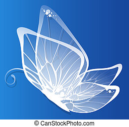 butterfly - drawing of beautiful white butterfly in a blue...