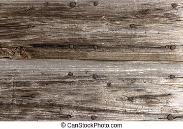 Background wood - Old panel wood with rusty nails.