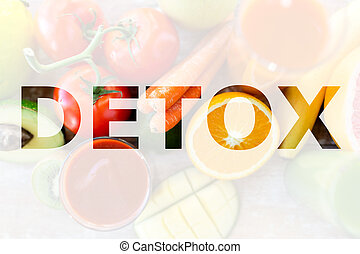 detox, healthy eating and vegetarian diet concept - juice,...