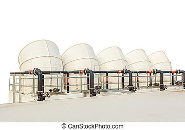 ventilation pipes of industrial building roof top on white background