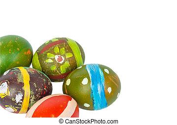 Happy easter eggs festival event on white background