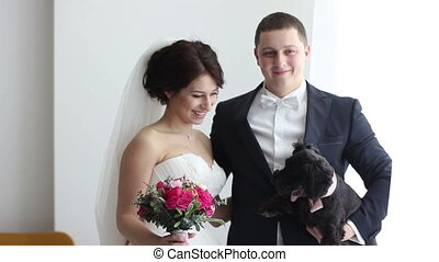 wedding couple and their with bouquet