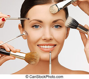 professional make-up - beauty and makeup concept - closeup...