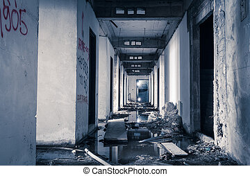 hallway walkway abandoned building can use horror movie...