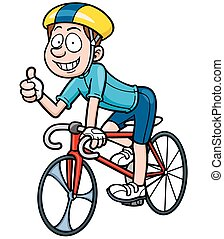 Cyclist - Vector illustration of Cartoon Cyclist