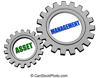 asset management in silver grey gears - asset management -...