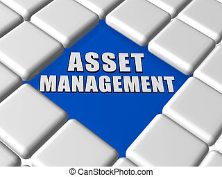 asset management in boxes - asset management - 3d white text...