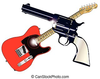Country and Western - A country guitar and six shooter over...