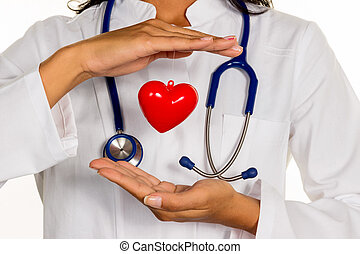 internist with heart - a young doctor internist holding a...