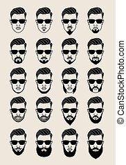 faces with beard, vector set