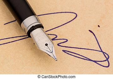 firma, y, Un, fuente, pluma,
