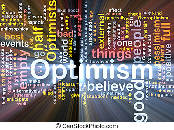 Optimism word cloud glowing - Word cloud concept...