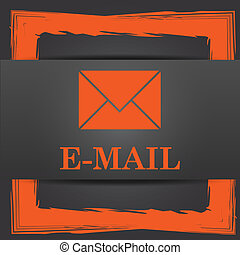 E-mail icon. Internet button on grey background.