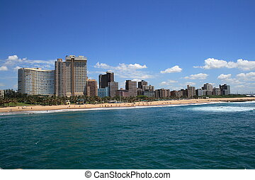 Durban  - view of the coastline of Durban city, South Africa
