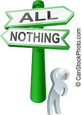 All or nothing concept - A man considering his options by...