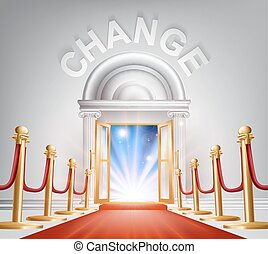Change Red Carpet Door - An illustration of a posh looking...